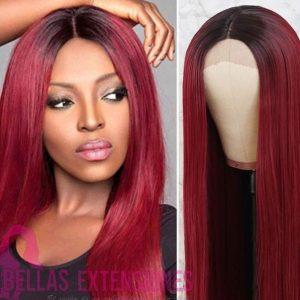 peluca con raiz burgundy