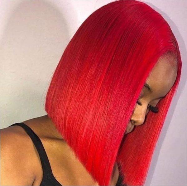 peluca lace front rojo