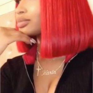peluca lace front color rojo de pelo natural