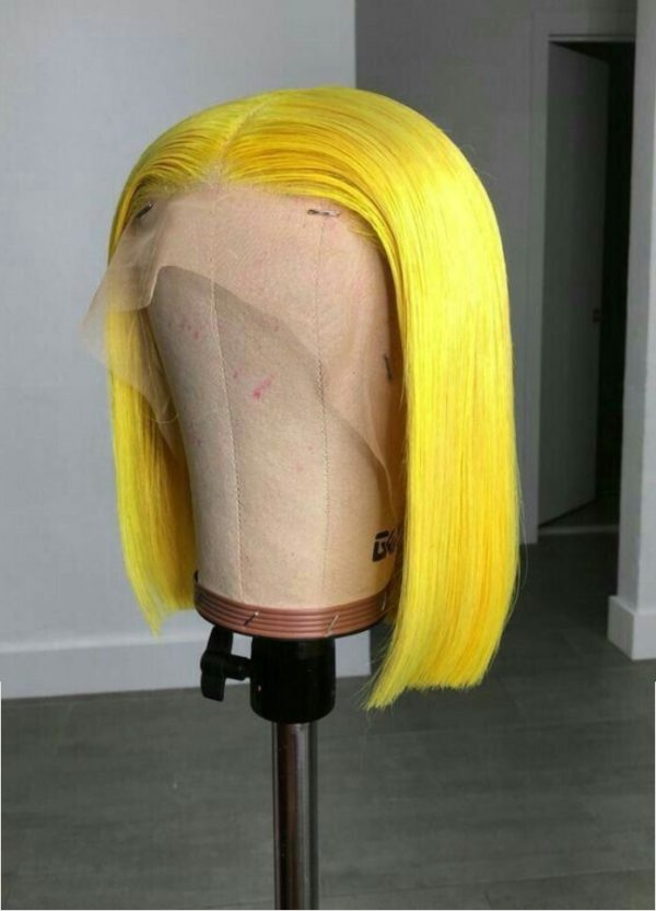 peluca bob lace front de pelo natural color amarillo