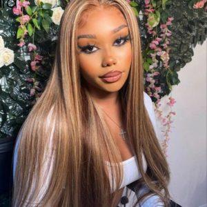 peluca con mechas lace front de pelo natural